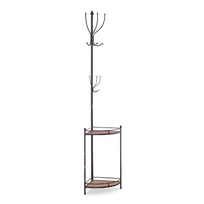 Corner Metal and Wood Coat Rack Brown - Linon