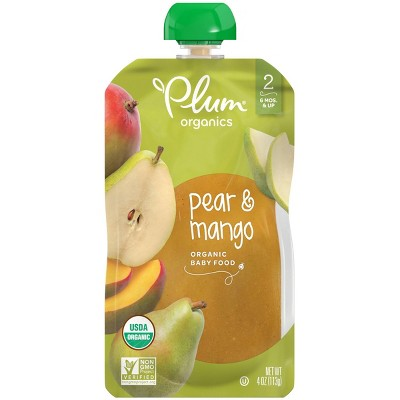 Plum Organics Pear & Mango Baby Food Pouch - 4oz
