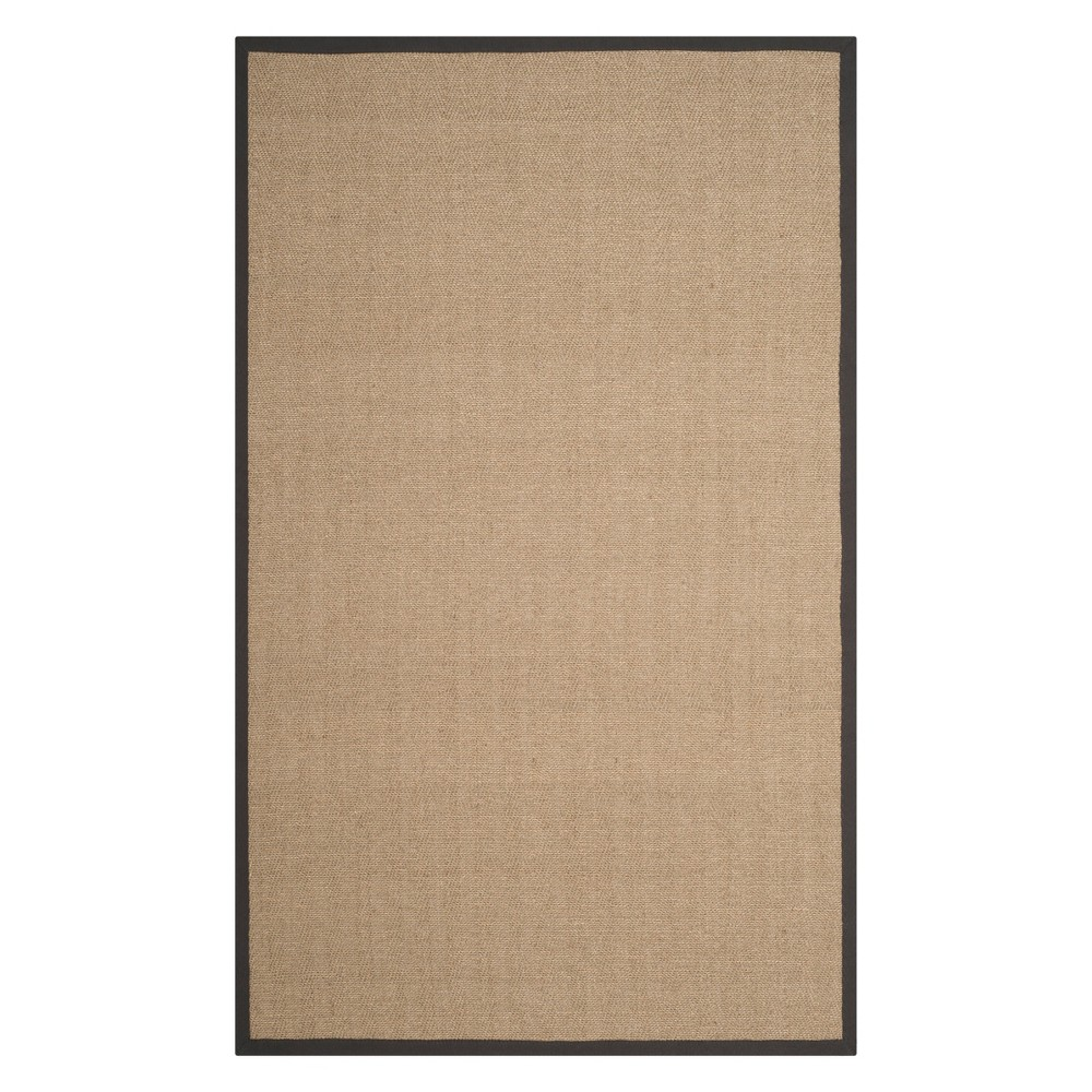 6'X9' Solid Loomed Area Rug Natural/Gray - Safavieh, White