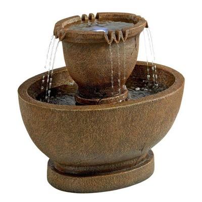 Large Richardson Oval Urns Cascading Garden Fountain - Acorn Hollow