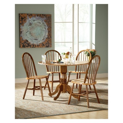 """Set of 5 42"""" Dual  Table with 4 Windsor Chairs Dining Sets Cinnamon/Brown - International Concepts"""