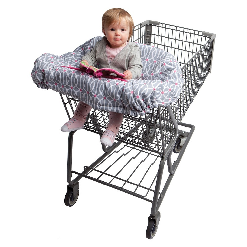 Boppy Park Gate Shopping Cart and High Chair Cover - Pink, Gray Vip seating while on the go! Your baby will be safe and protected from messes in the Boppy Shopping Cart and Restaurant High Chair Cover while you are out and about. Designed with extra padding and attached toys to keep your baby comfy and entertained. Patented SlideLine system attaches toys, pacifiers or other lifesavers for your baby to keep them within reach. You two won't want to leave home without it. Recommended age: 6 - 48 months. Color: Gray.