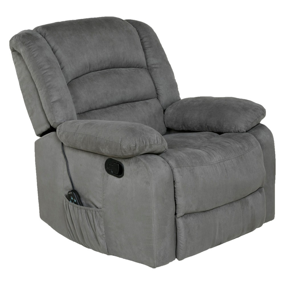 Image of 2pc Relaxzen Rocker Recliner With Heat Massage Usb Microfiber Gray