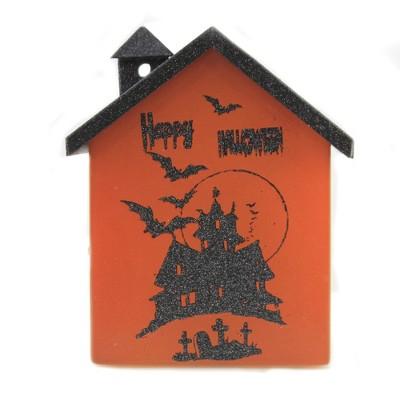 "Stony Creek 6.5"" Halloween Small Glass House Bats Spooky Glitter  -  Decorative Vases"