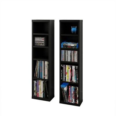 Set of 2 Sereni TV CD and DVD Towers Black - Nexera