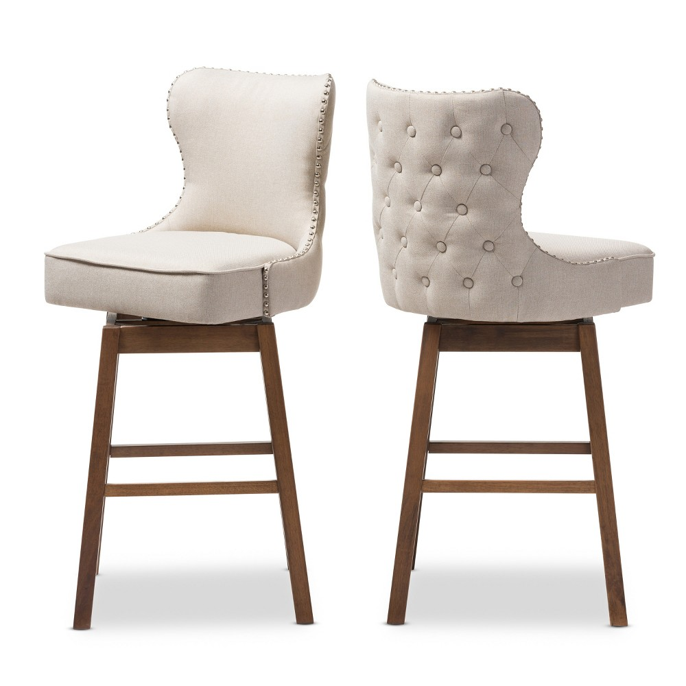 Tufted Upholstered Swivel Barstool2 - Set of 2 Gradisca Modern - Light Beige,