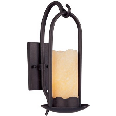 """Franklin Iron Works Rustic Cottage Wall Light Sconce Rich Onyx Hardwired 14 1/2"""" High Fixture Faux Candle Bedroom Bathroom Hallway"""