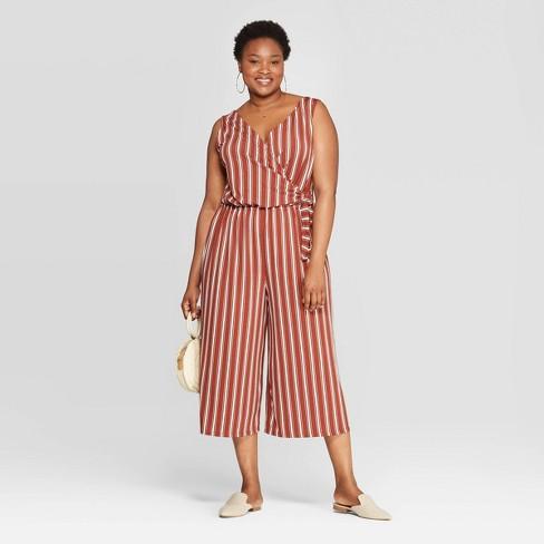 f52b4eacb00d Women's Plus Size Striped Sleeveless V-Neck Tie Detail Knit Jumpsuit - Ava  & Viv™ Brown/White : Target