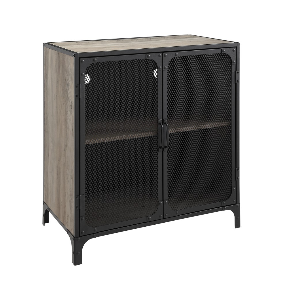 30 Industrial Accent Cabinet With Mesh Gray Wash - Saracina Home