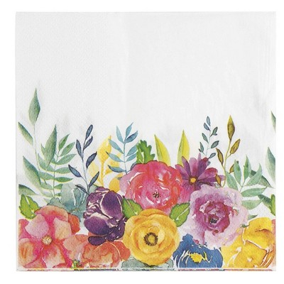 Juvale 100PC Floral Disposable Paper Napkins for Weddings Party Supplies 2-Ply