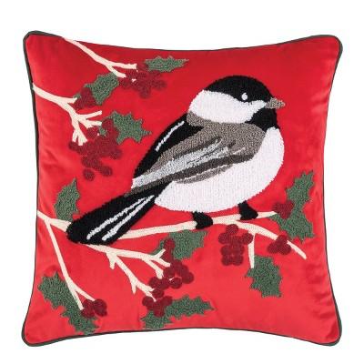 "C&F Home Chickadee Berries 18"" x 18"" Throw Pillow"