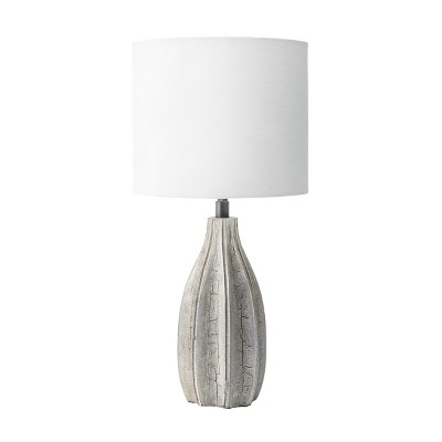 "nuLOOM Burlington 20"" Wood Table Lamp Lighting - Gray 20"" H x 12"" W x 12"" D"