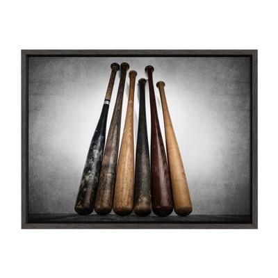 "18"" x 24"" Sylvie Baseball Bats Framed Canvas by Shawn St. Peter Gray - DesignOvation"