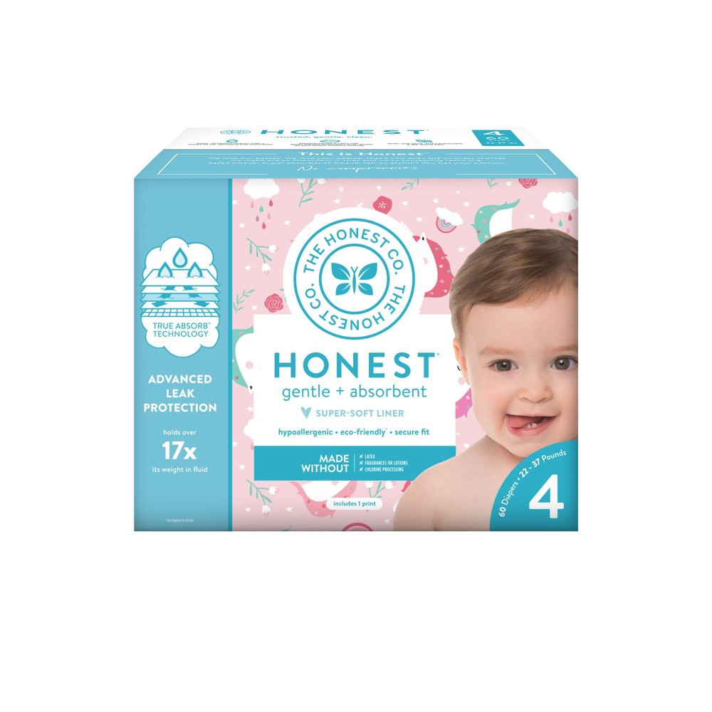 Honest Company Chasing Unicorns Club Pack Diapers - Size 4 (60ct), Multicolored