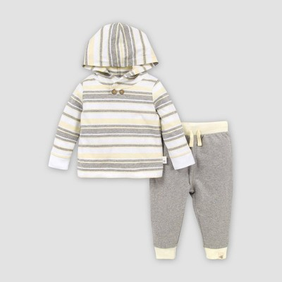 Burt's Bees Baby® Baby Organic Cotton Garden Stripe Hooded T-Shirt and Pant Set - Gray 6-9M