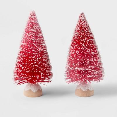 2pk Bottle Brush Christmas Tree Set Pink - Wondershop™