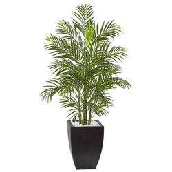 4.5' Areca Palm Tree with Black Wash Planter - Nearly Natural