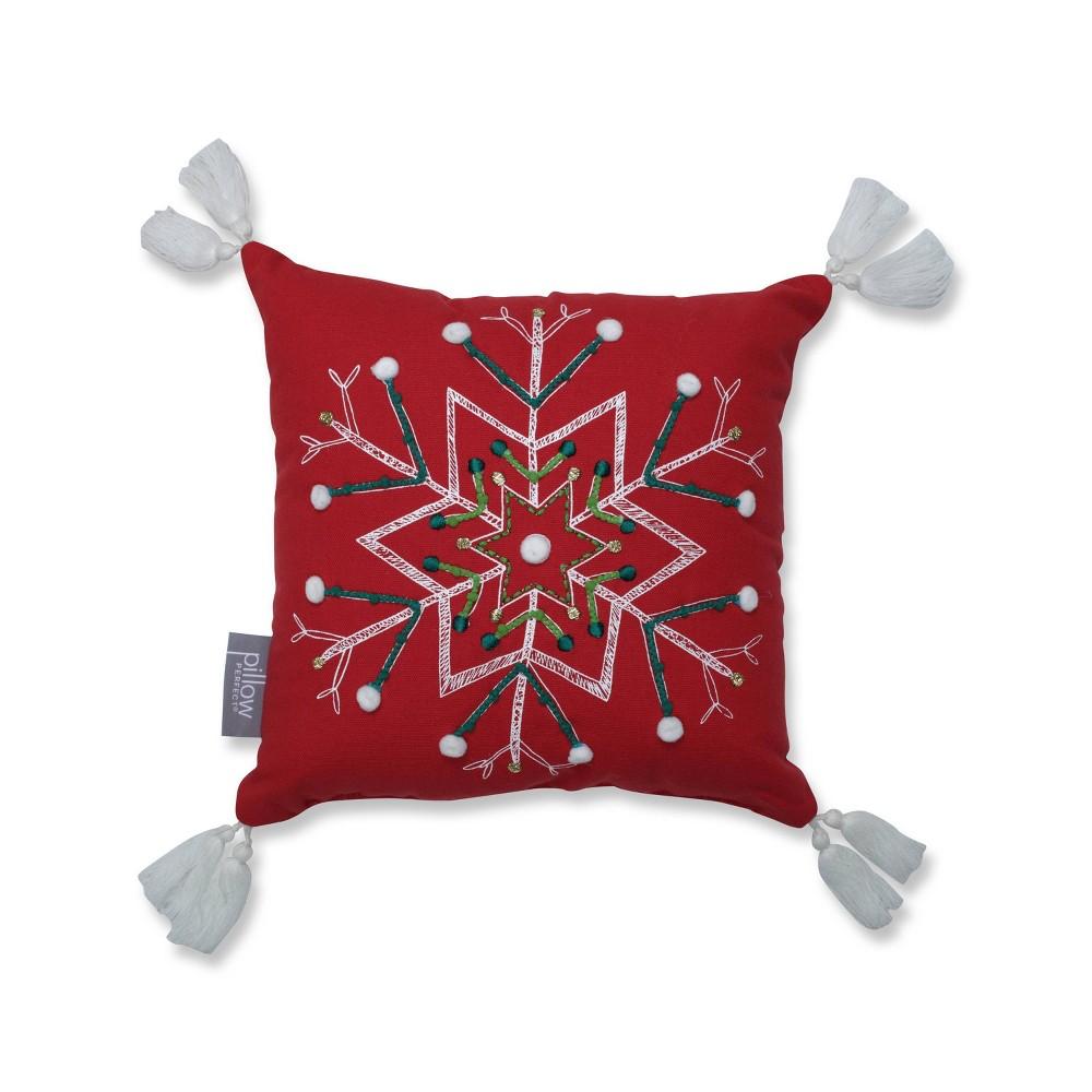 Primative Snowflake Square Throw Pillow Pillow Perfect