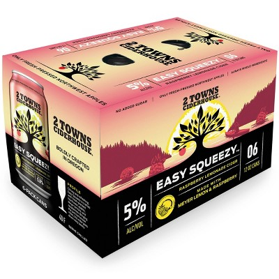 2 Towns Easy Squeezy Raspberry Lemonade Hard Cider - 6pk/12 fl oz Cans