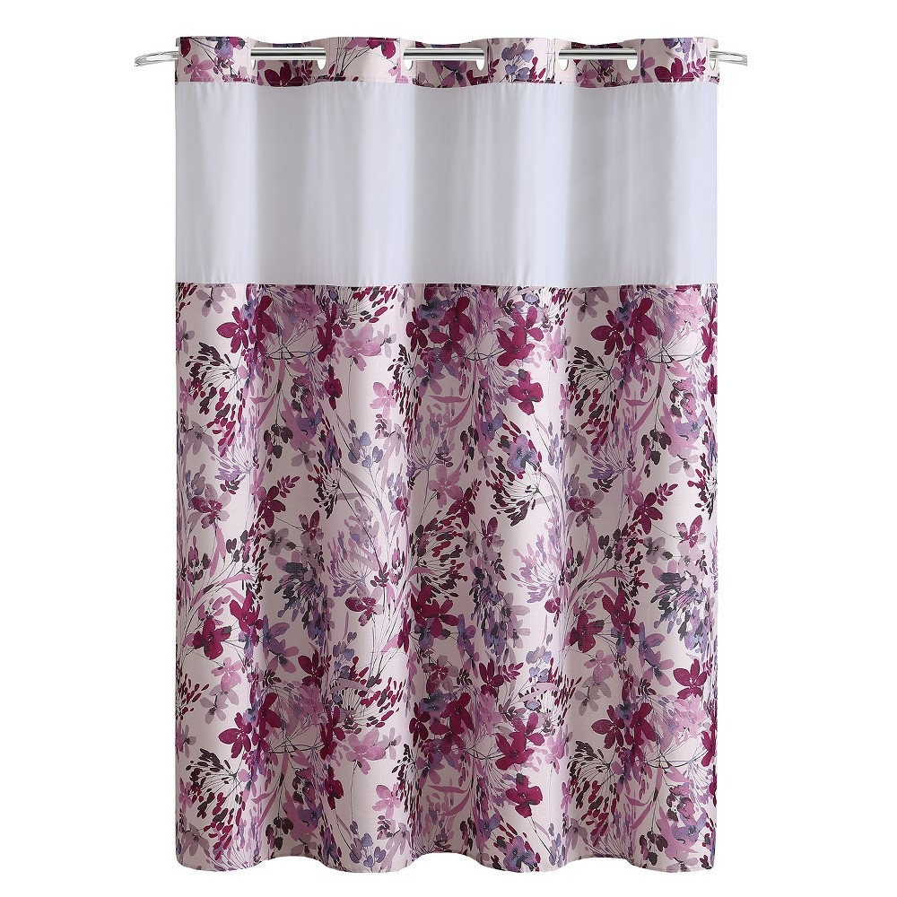 Hookless Watercolor Floral Shower Curtain with Liner Pink