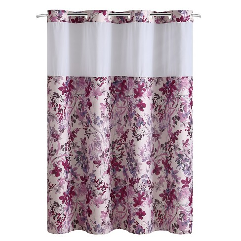 Hookless Watercolor Floral Shower Curtain with Liner Fuchsia - image 1 of 6