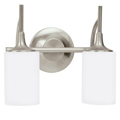 """Sea Gull Lighting Stirling 2-Light 13"""" Brushed Nickel Vanity Light 44953-962"""