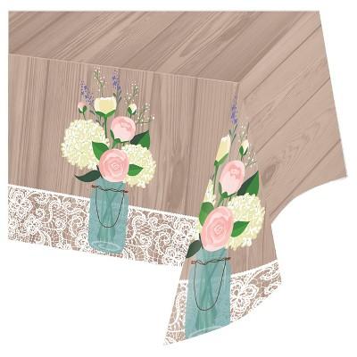 Rustic Wedding Plastic Tablecloth, each
