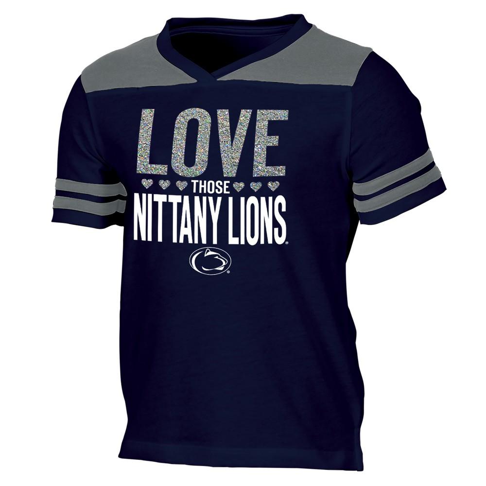 Penn State Nittany Lions Girls' Short Sleeve Team Love V-Neck T-Shirt S, Multicolored