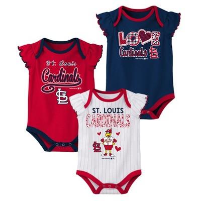 St. Louis Cardinals Baby Girls' 3pk Flutter Short Sleeve Bodysuits - 12 M
