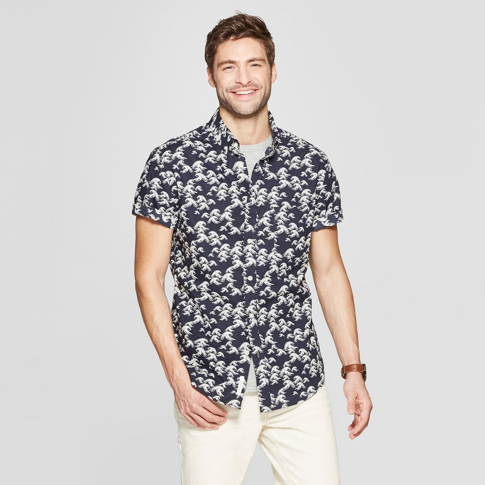 Men's Printed Slim Fit Short Sleeve Button-Down Shirt - Goodfellow & Co Federal Blue S