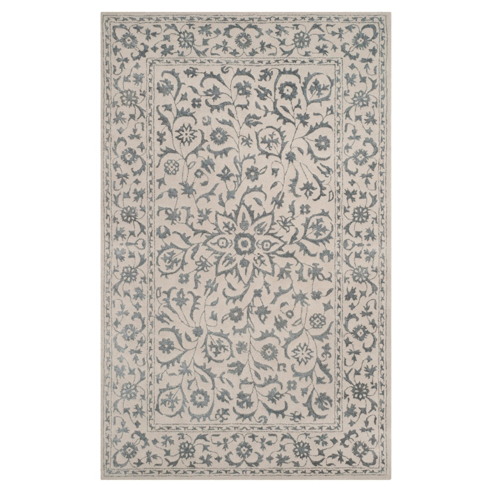 Silver/Ivory Botanical Loomed Area Rug - (5'X8') - Safavieh, White Silver