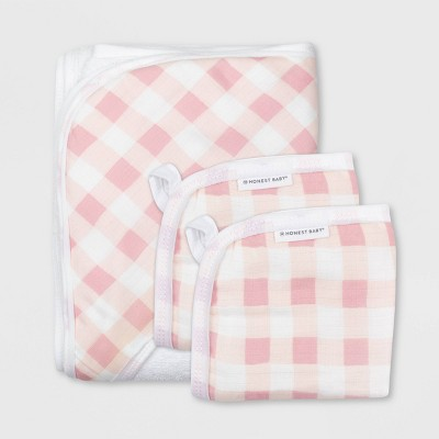Honest Baby Girls' 3pc Organic Cotton Plaid Hooded Bath Towel Set - Pink