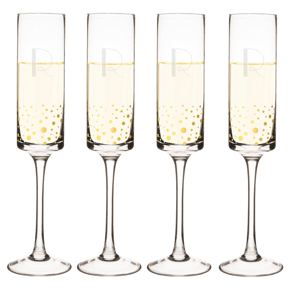 Cathy's Concepts 4pc Monogram Gold Dots Champagne Flutes R, Clear Gold