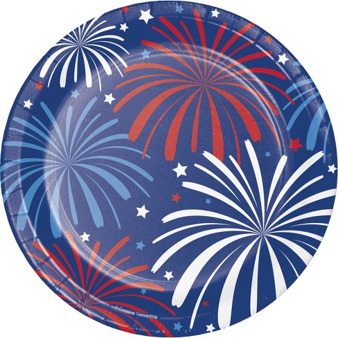 "Patriotic Patterns 7"" Dessert Plates - 8ct - image 1 of 2"