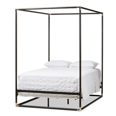 Eva Vintage Industrial Finished Metal Canopy Bed - Queen - Black - Baxton Studio
