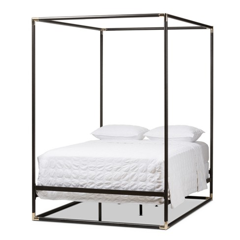 Eva Vintage Finished Metal Canopy Bed Queen Black Baxton Studio