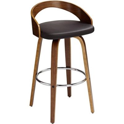 """LumiSource Gratto 29 1/4"""" Chocolate Brown Faux Leather Modern Swivel Bar Stool"""