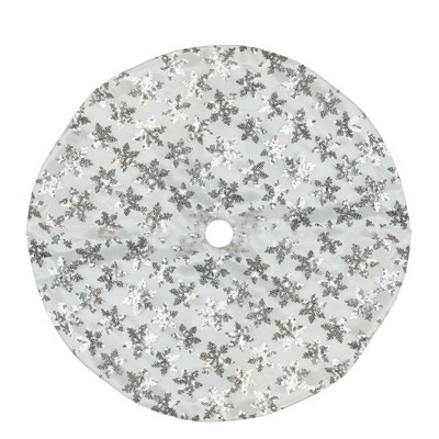"Northlight 20"" White and Silver Sequin Snowflake Mini Christmas Tree Skirt"
