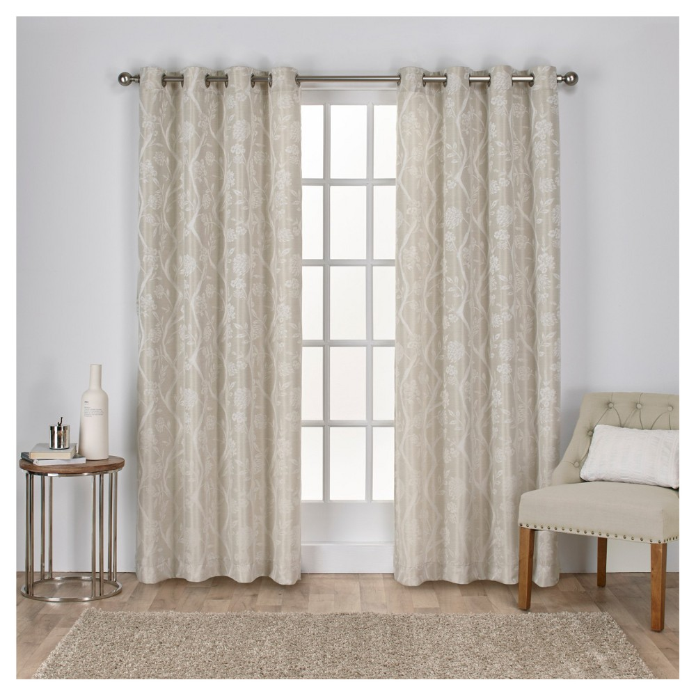 Lamont Branch and Vine Textured Linen Jacquard Grommet Top Window Curtain Panel Pair Linen (54
