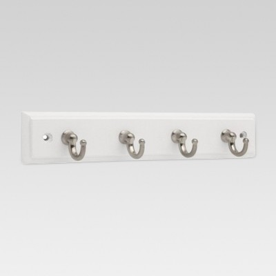 9  Key Rack with 4 Hooks - White/Satin Nickel - Threshold™