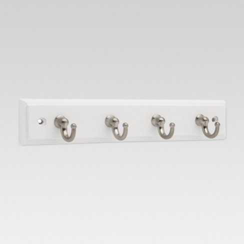 "9"" Key Rack with 4 Hooks - White/Satin Nickel - Threshold™ - image 1 of 1"
