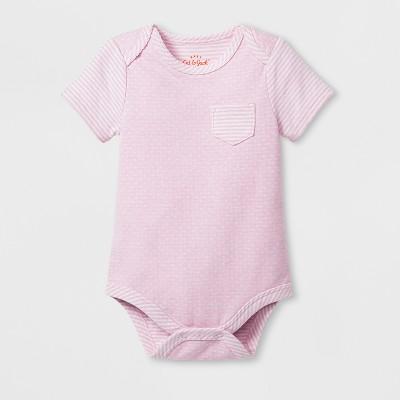 Baby Girls' Short Sleeve Pocket Bodysuit - Cat & Jack™ Woodrose 6-9M