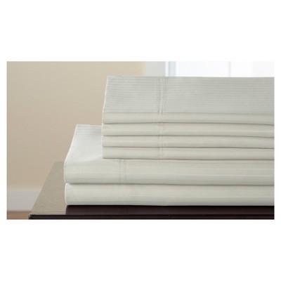 Valencia Stripe Cotton Rich 6pc Sheet Set 800TC (Queen)Ivory