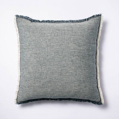 Oversized Square Linen Throw Pillow with Contrast Frayed Edges Navy/Cream - Threshold™ designed with Studio McGee