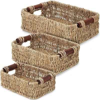 """3-Pack Brown Rectangle Woven Wicker Storage Basket Container Organizer with Handles 6"""" / 7"""" / 8"""""""