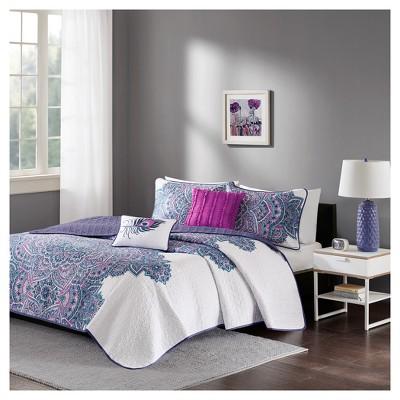 Purple Lolita Printed Quilt Set Purple