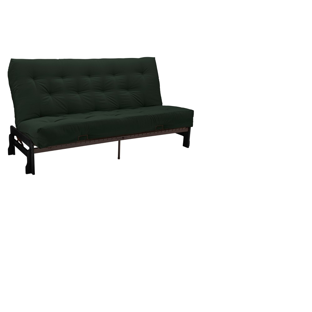 Low Arm 8 Inner Spring Futon Sofa Sleeper - Black Wood Finish - Twill Hunter Green Upholstery - Queen - Size - Epic Furnishings