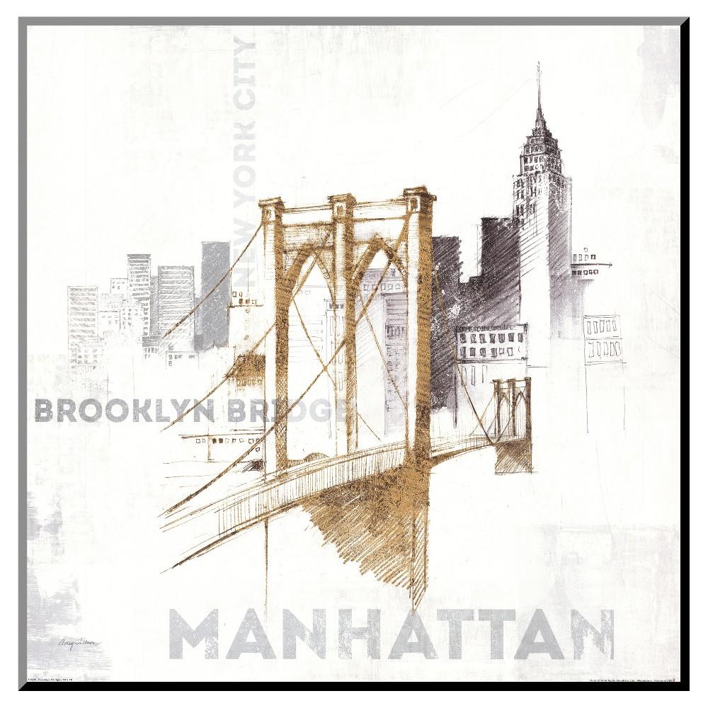 Brooklyn Bridge Mounted Print, Gold