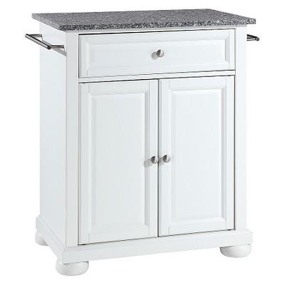 Alexandria Solid Granite Top Portable Kitchen Island - White - Crosley