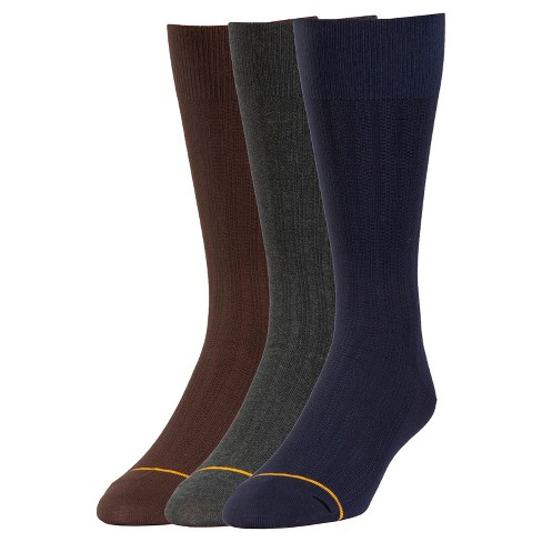Signature Gold by GOLDTOE® 3pk Modern Rib Relaxed Top Dress Socks - Assorted 6-12 - image 1 of 2